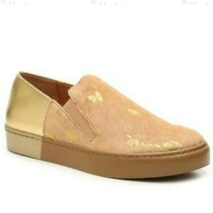 NWT Free People Varsity Loafers gold leather